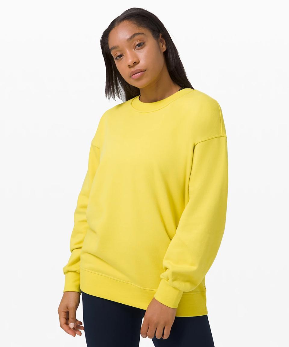 yellow Perfectly Oversized Crew shirt.