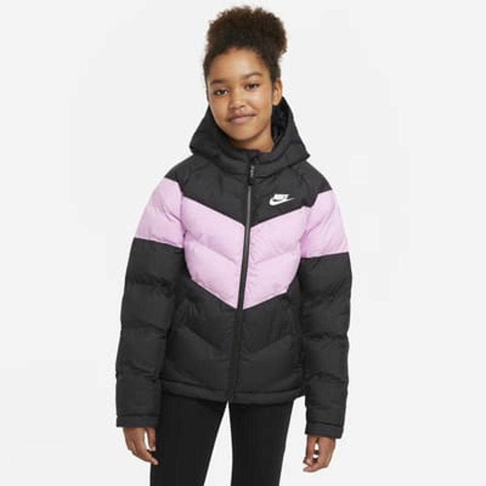 Nike Sportswear Big Kids' Synthetic-Fill Jacket in black and pink.