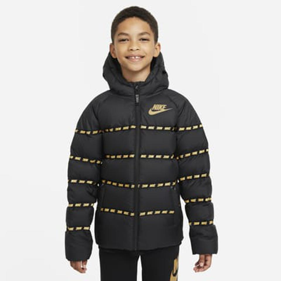 Nike Sportswear Big Kids' Down Jacket in black with gold detailing.
