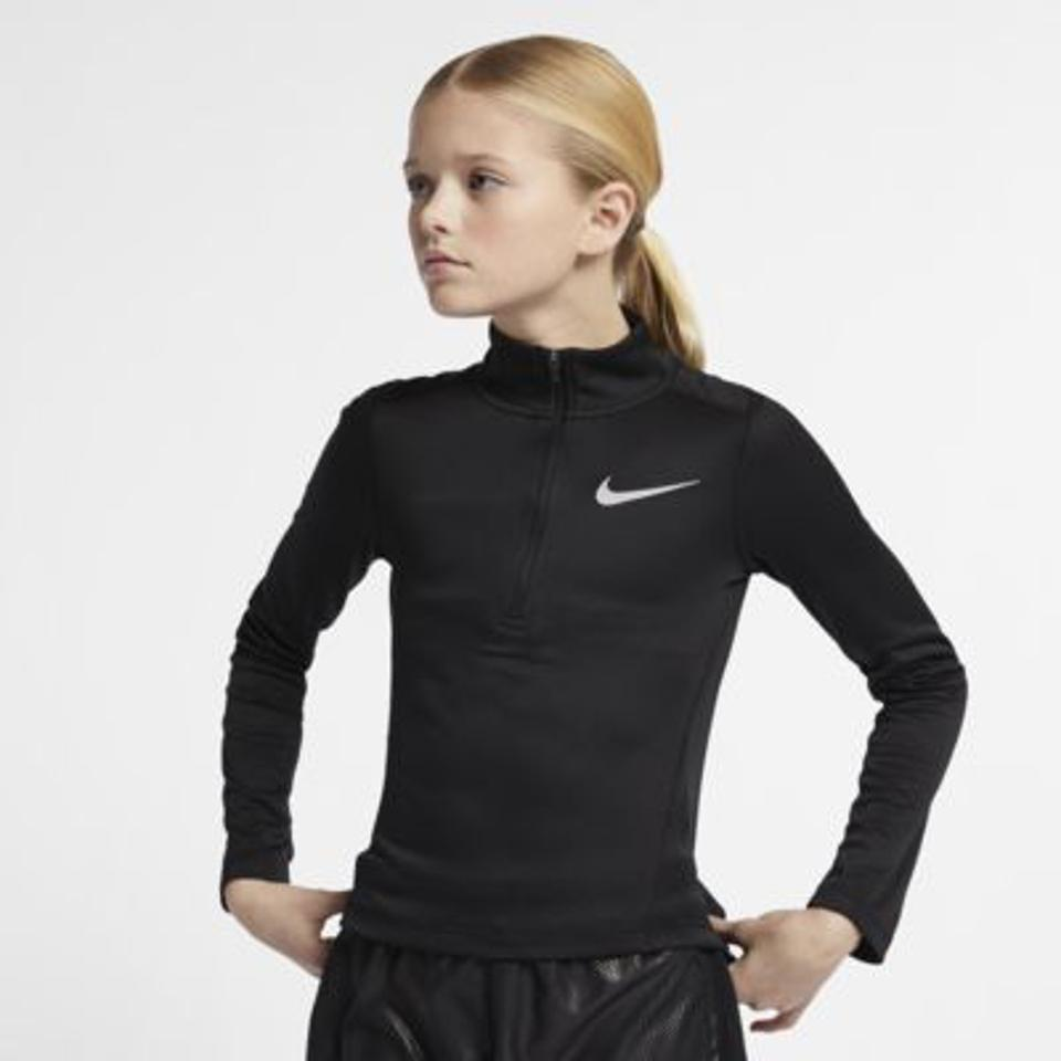 Girls running top in black with zip and Nike swoosh logo.