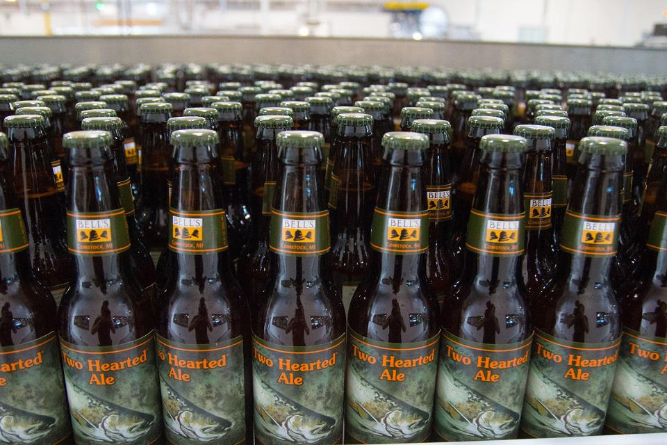 My personal favorite, Bell's Two Hearted Ale, moves down the bottling line