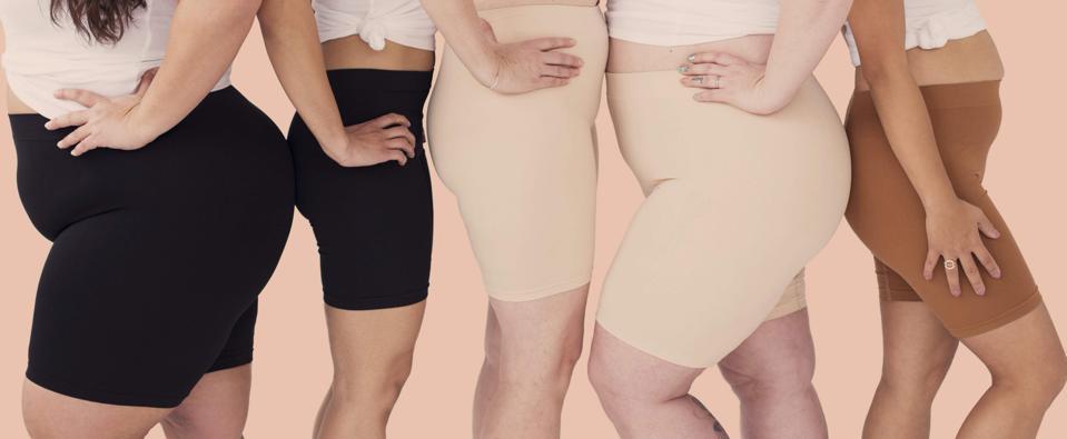 Image of 5 women of various sizes wearing anti-chafing shorts