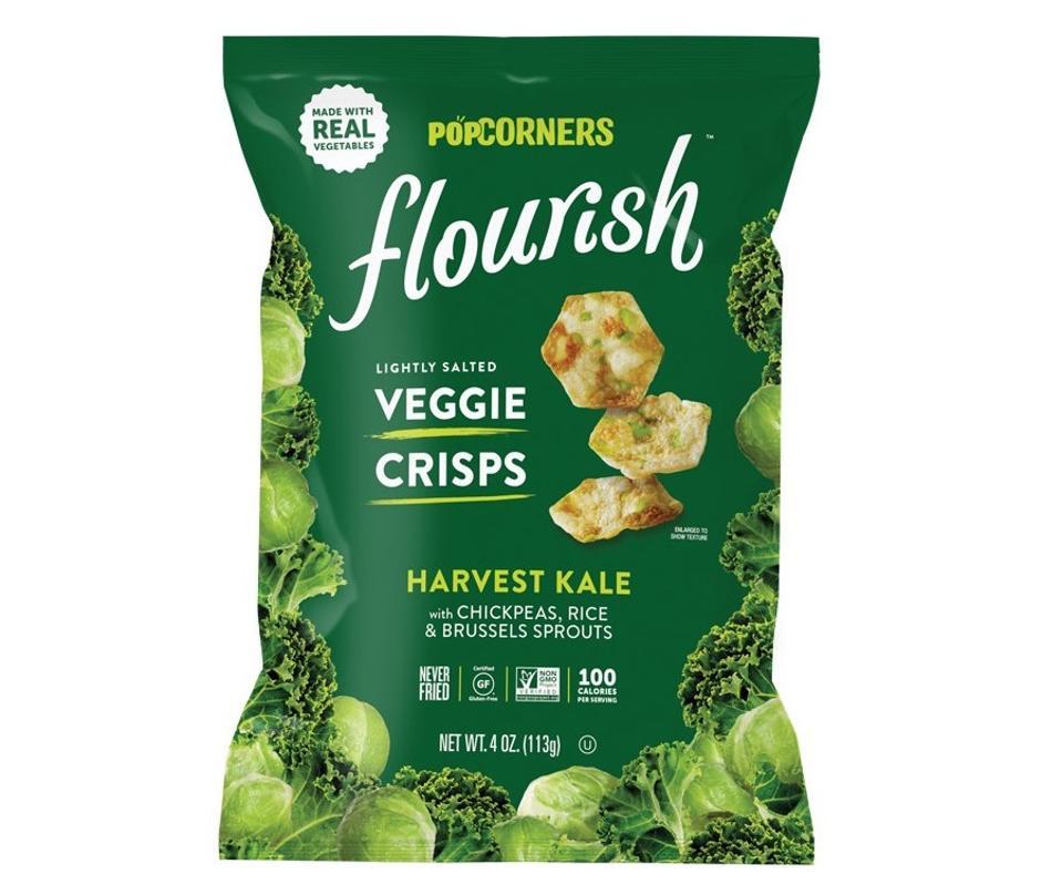 Popcorners flourish veggie Crisps chips kale rice gluten free non gmo healthy snacks
