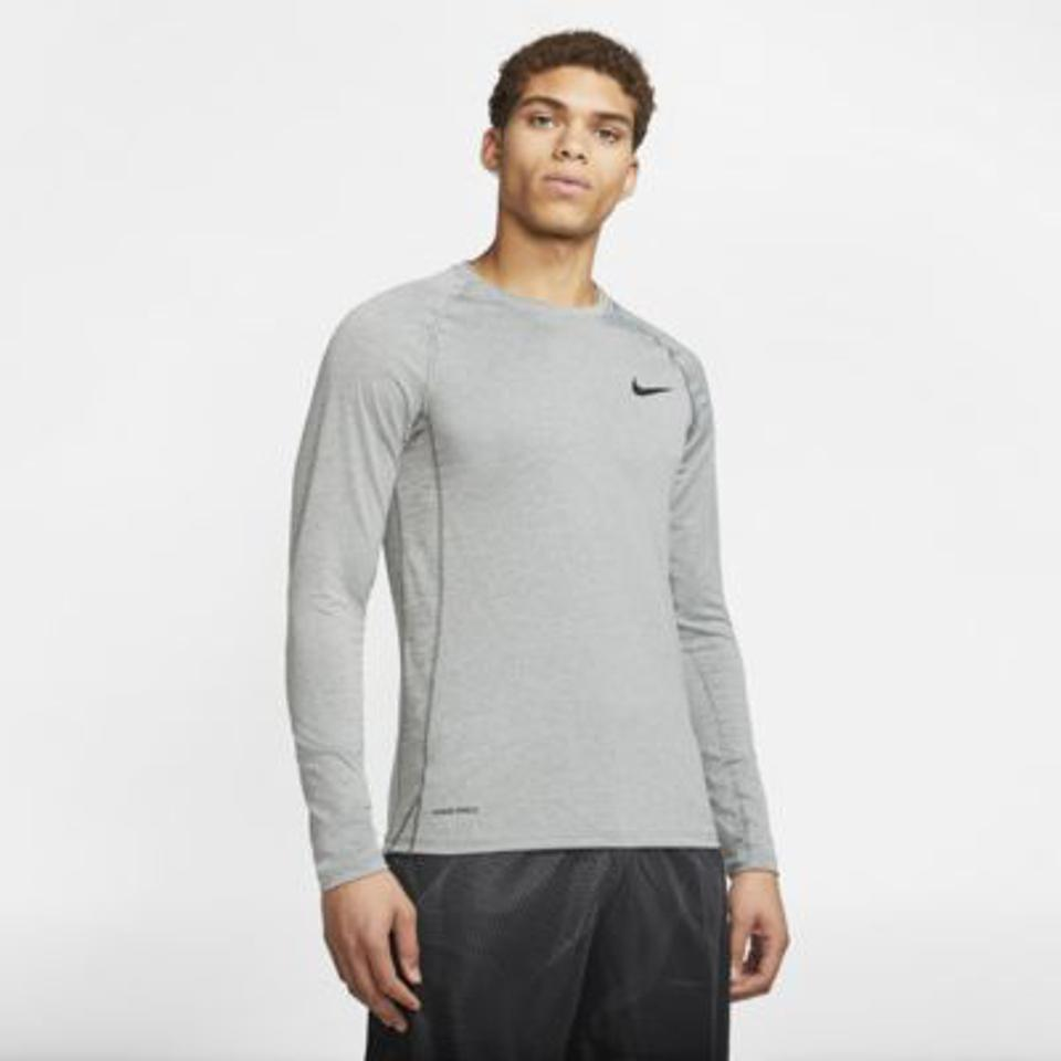 Nike Pro long-sleeve top in gray.