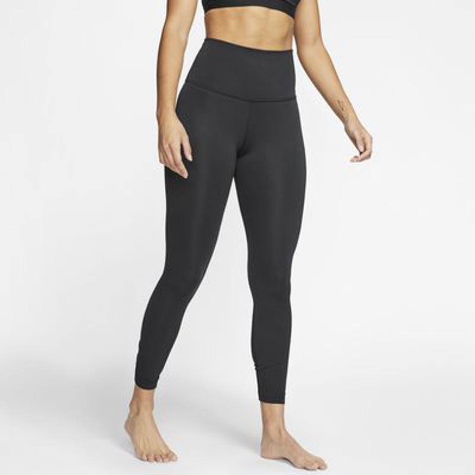 Nike Yoga Women's Ruched 7 Legging in black.
