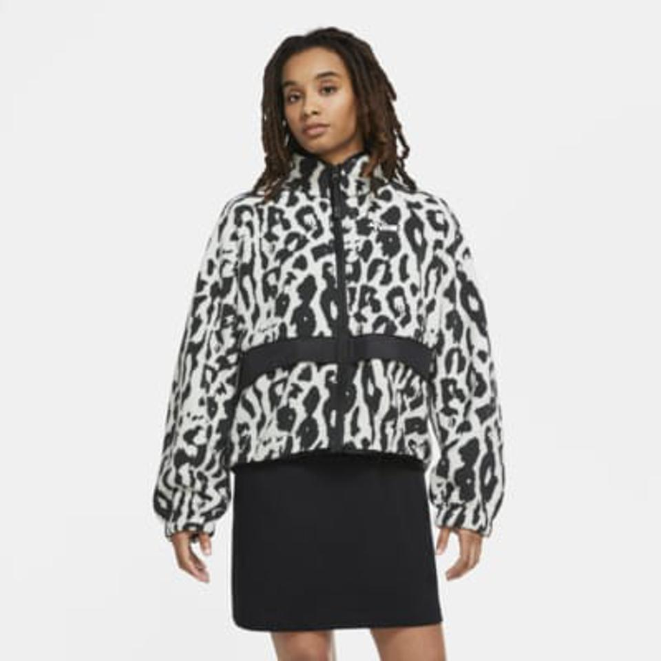 Black and white leopard print sherpa jacket from Nike.