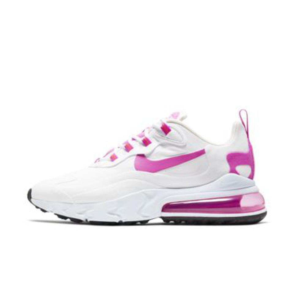 Nike Air Max 270 in pink and white.