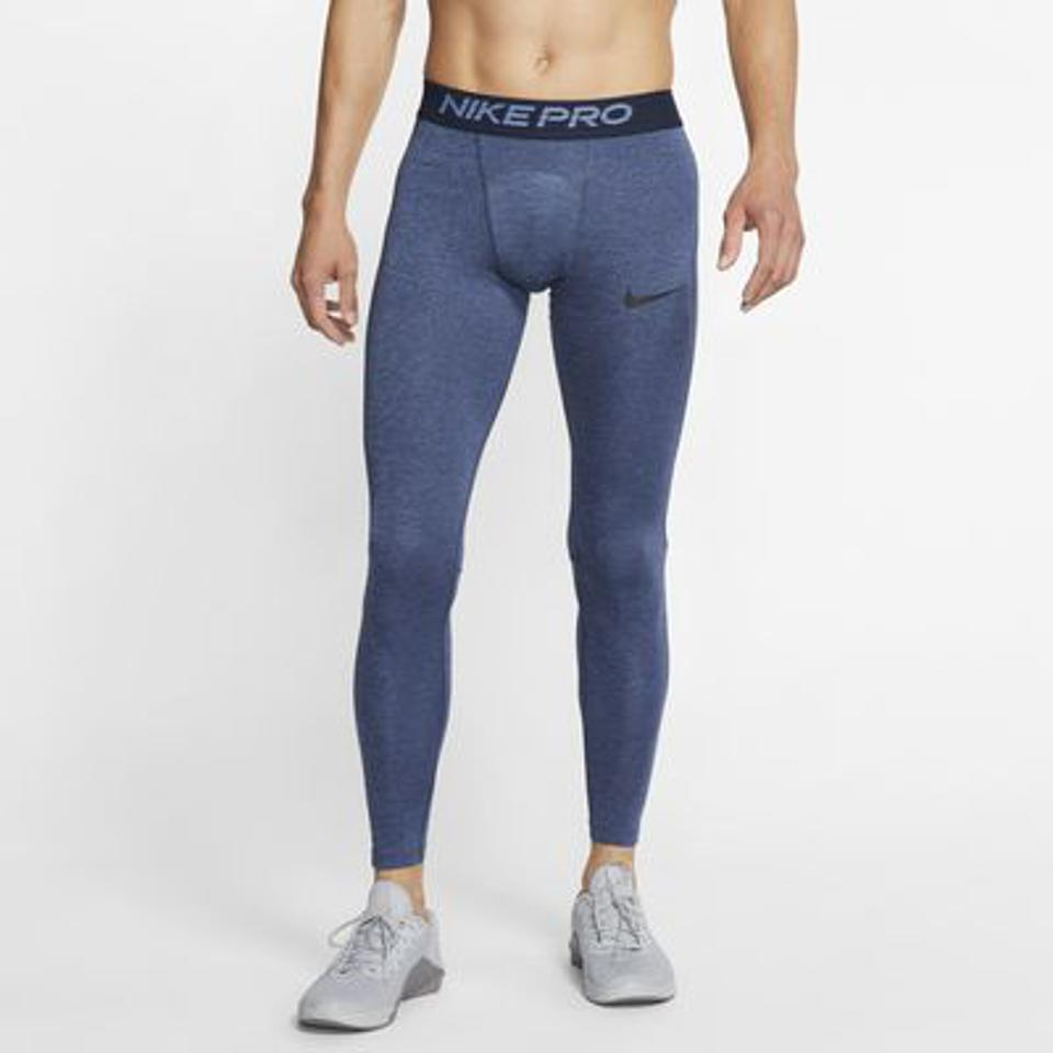Nike Pro Men's Tights in blue.