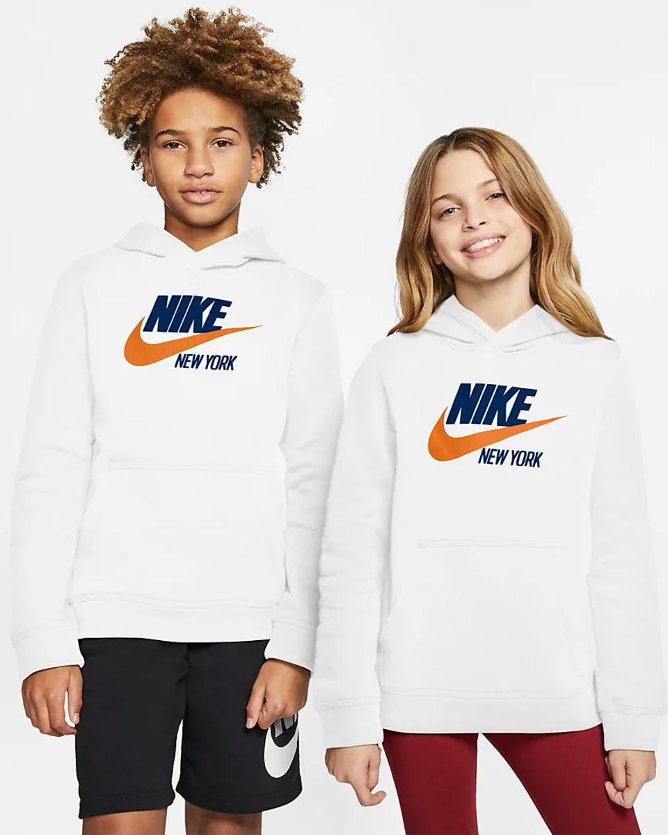 White Nike ″New York″ hoodie with blue and orange lettering.