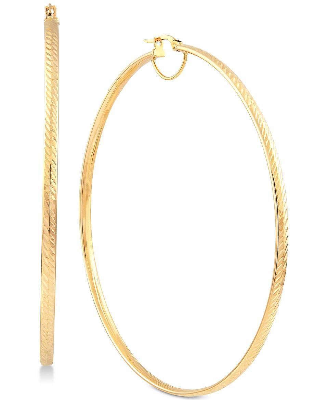 Italian Gold Textured Large Skinny Hoop Earrings in 14k Gold