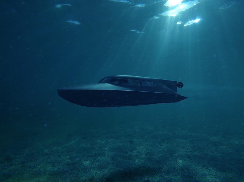 Victa submarine by Subsea Craft sails under the surface of the ocean