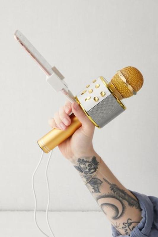 Gold Karaoke microphone white elephant gift