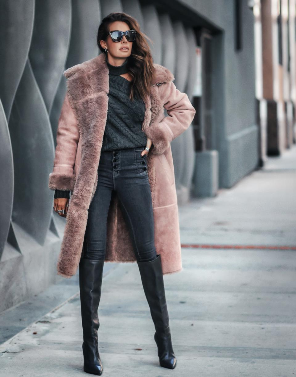 Double-Breasted Faux Shearling Coat in Rose Taupe