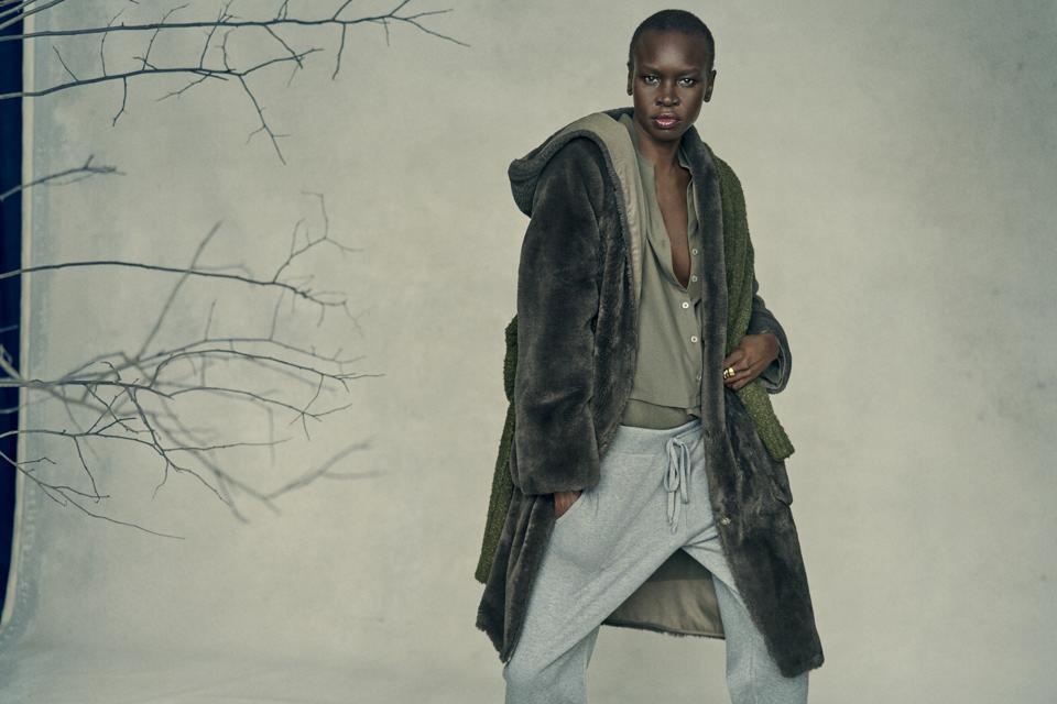 new york Vegan Fur Coat worn by renowned model and activist, Alek Wek