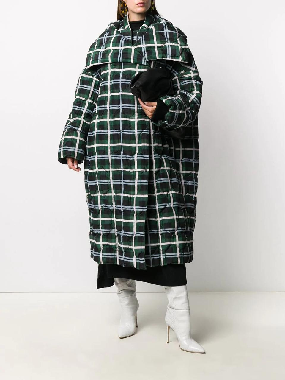 The Oversized Quilted Coat by Christian Wijnants is 100% cotton featuring a plaid check pattern, wide peak lapels and made of positively conscious material widely recognized as being better for the planet.