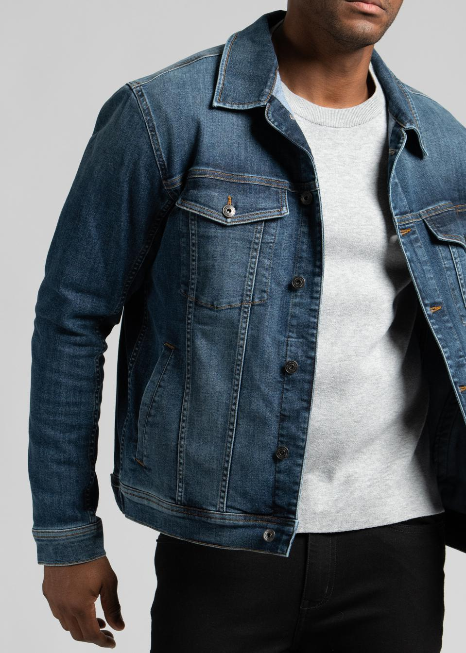 For your weekend adventure or daily commute. This modern and slim-fit jacket features felled seams throughout for durability and traditional chest pockets in a classic rinse wash.