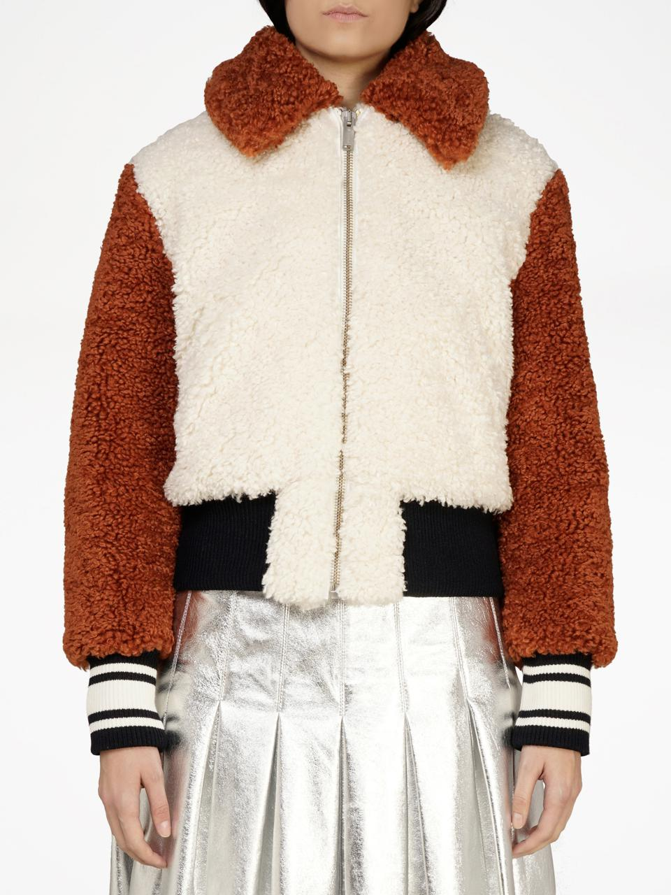 Golden Goose Antea Teddy Bomber Jacket in Faux Fur