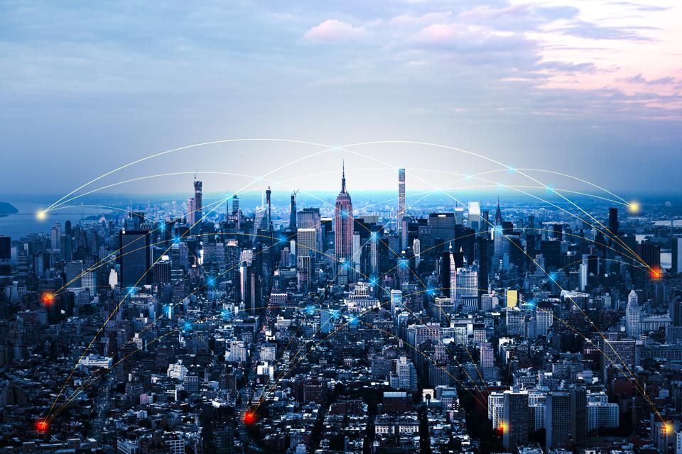 blue tone network and connection technology concept with city background. at New York
