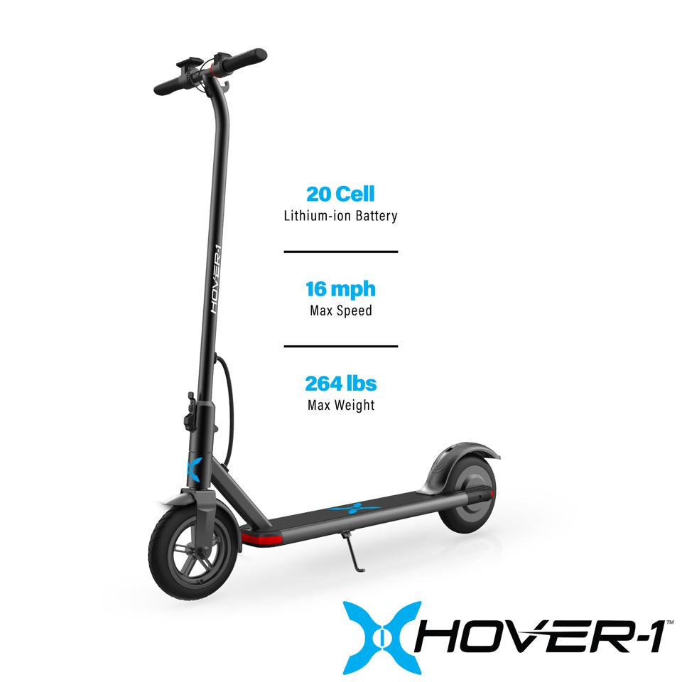 Hover-1 Dynamo Electric Folding Scooter, LCD Display, Air-Filled Tires, 16 MPH Max Speed - Black