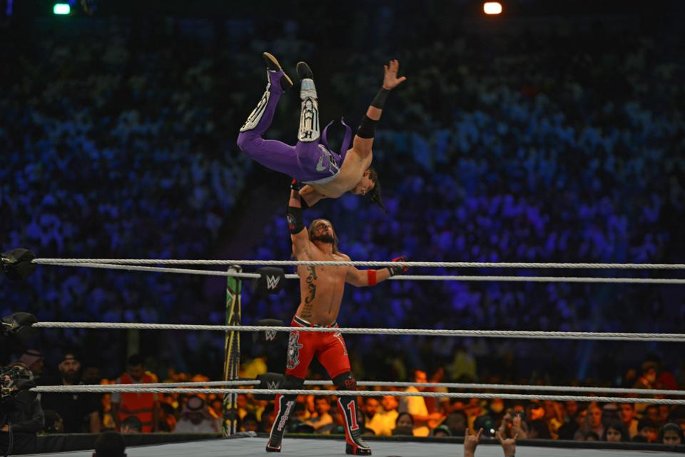 AJ Styles fights against Humberto Carrillo during the World Wrestling Entertainment (WWE) Crown Jewel pay-per-view in Riyadh on October 31, 2019.