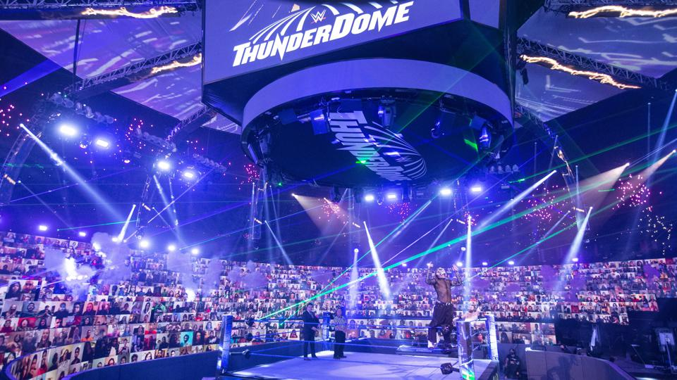 The WWE ThunderDome showing banks of screens