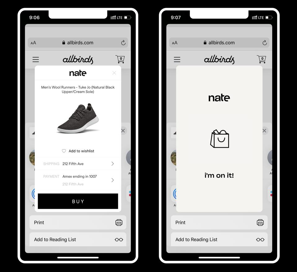 An image of screen grabs from the new Nate shopping app