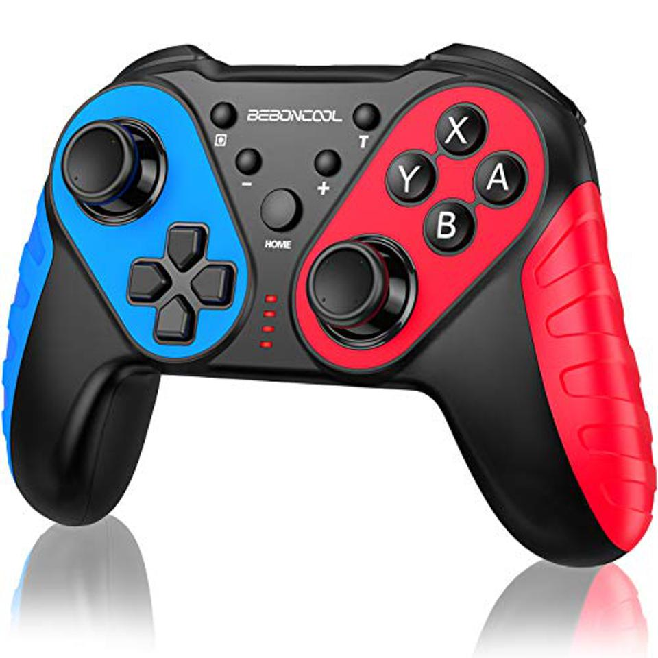 Beboncool wireless Nintendo Switch controller in black, red and blue