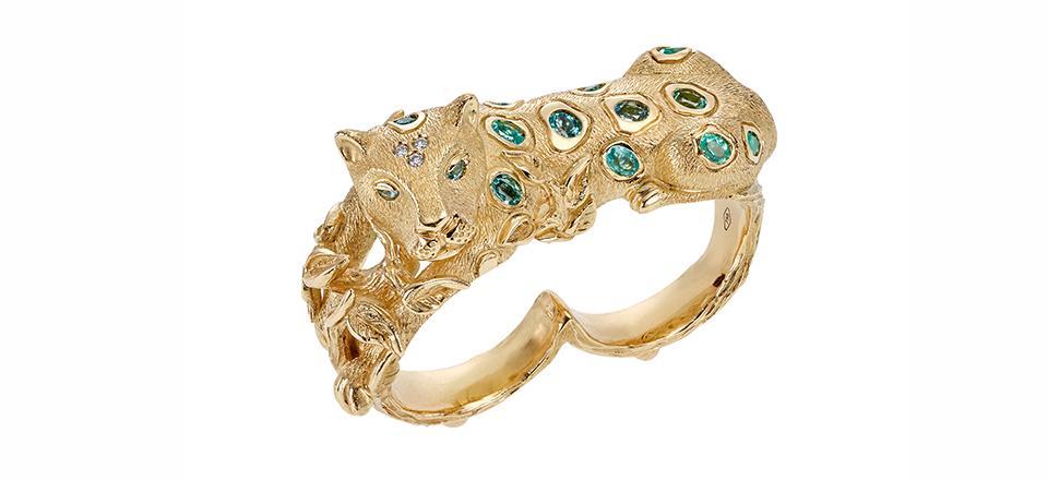 18K Jaguar Double Ring with Paraiba tourmaline and diamond