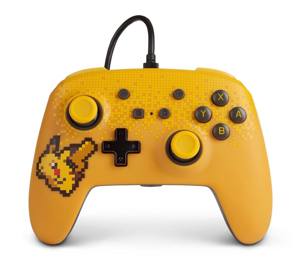PowerA wired controller for Nintendo Switch in yellow and black with pixelated Pikachu