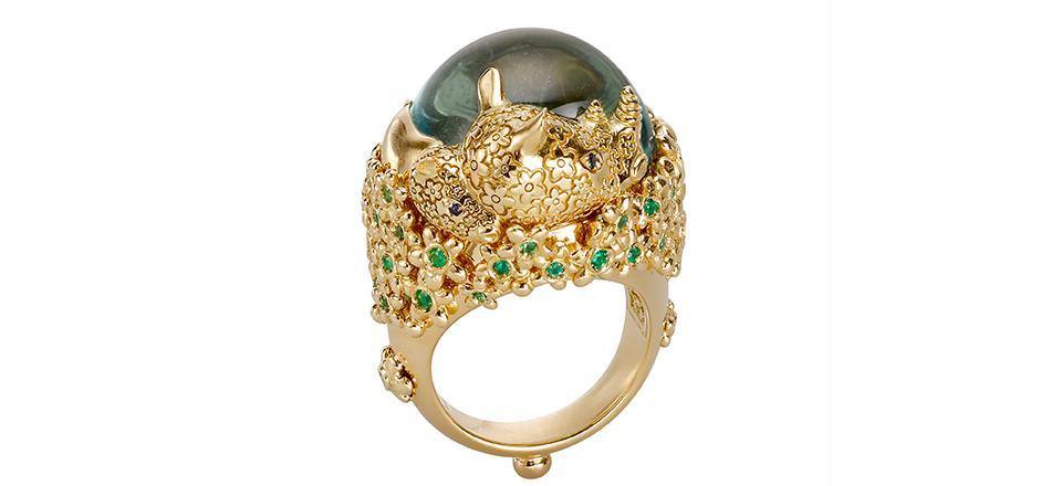 18K Rhinoceros Ring with aquamarine, emerald, blue sapphire, and diamond
