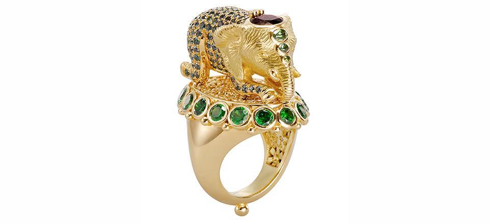18K Elephant Ring with garnet, demantoid, color change spessartite and diamond