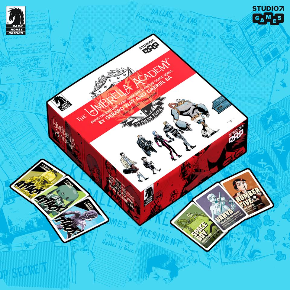 Promotional illustration of Umbrella Academy tabletop card game
