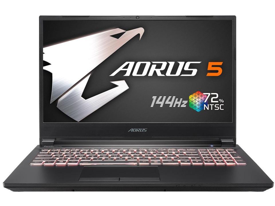 Gigabyte Aorus 5 gaming laptop opened with RGB keyboard illuminated