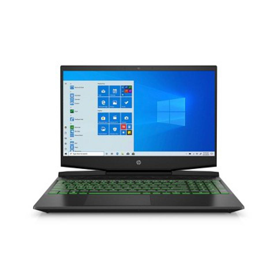 HP Pavilion 15″ gaming laptop with green backlit keys, opened and running Windows 10