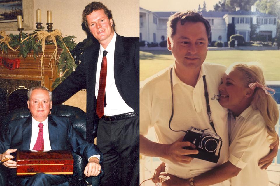 (Izquierda) Vacaciones con los Hilton: Barron Hilton y su hijo Rick a principios de la década de 1990.  (Derecha) Barron con su esposa Marilyn June Hawley en Brooklawn Estate durante el verano de 1974.