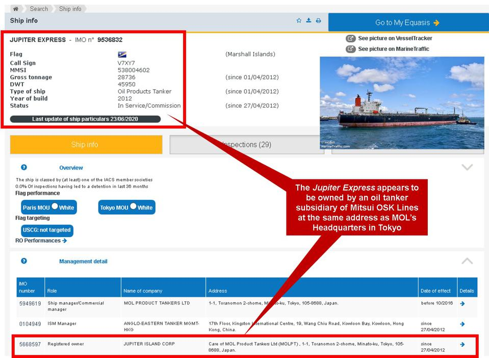 The EQUASIS database shows the Jupiter Express is owned by MOL Product Tanker Ltd, at the same address as the MOL Headquarters in Tokyo