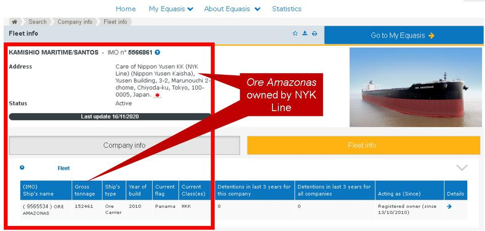 The Equasis database shows the Ore Amazonas is owned by NYK Line