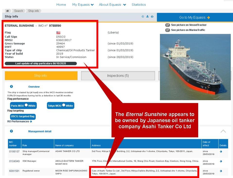 Equasis shows the Eternal Sunshine registered with Asahi Tanker Co Ltd in Tokyo