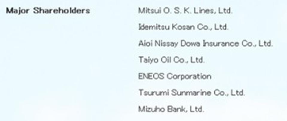 Mitsui OSK Lines is identified as one of the major shareholders of Asahi Tanker Co Ltd