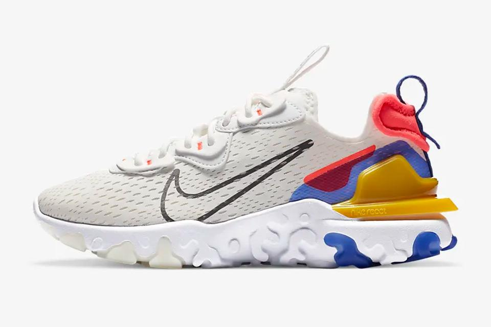 The Nike React Vision in white with red, blue, and yellow detailing.