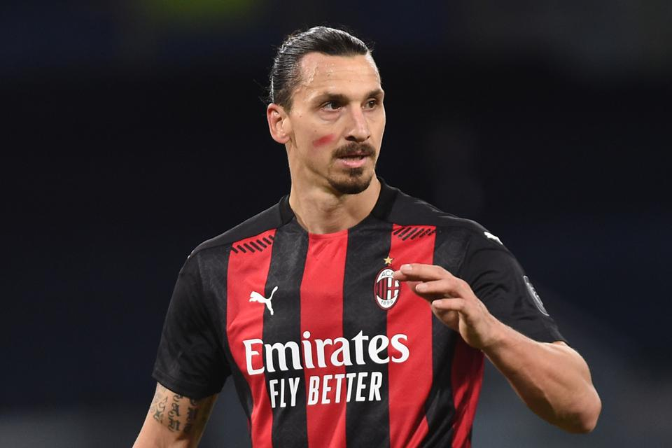 SSC Napoli v AC MIlan - Serie A; Zlatan Ibrahimovic of AC Milan during the Serie A match between SSC Napoli and AC Milan at Stadio San Paolo Naples.