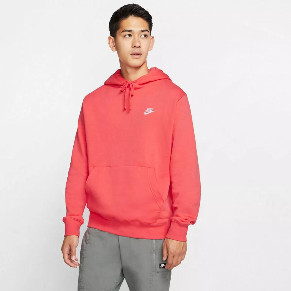 Red Men's Nike Sportswear Club Fleece Pullover Hoodie.