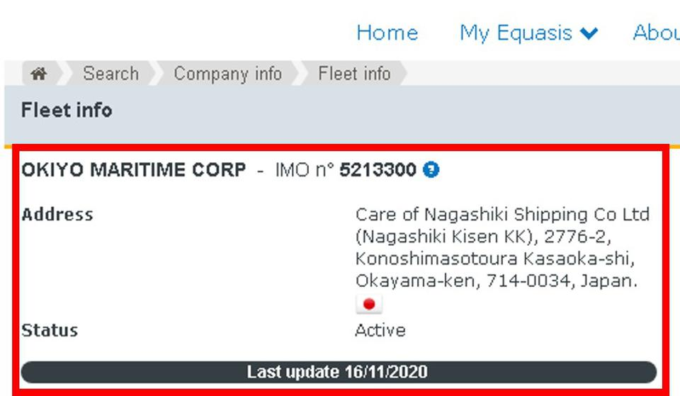 Okiyo Maritime is a subsidiary of Nagashiki Shipping. But there have been updates to the Okiyo records up through to 16 November 2020, despite only having two vessels at the time of the Wakashio grounding.