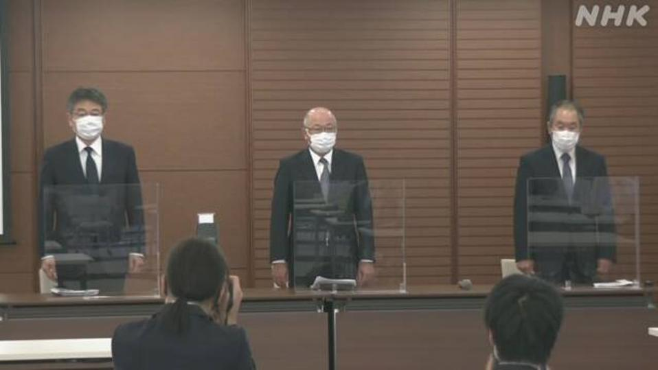 MOL's Head of Safety and Managing Executive Officer, Masanori Kato (Far Left), speaking on Aug 9 at MOL's Headquarters in Tokyo. Some of the statements about how the Wakashio ran aground was later found to be inaccurate.