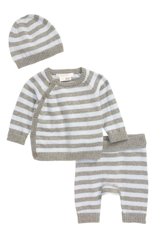 Petit Lem Cashmere Sweater, Knit Pants & Hat Set (Baby)
