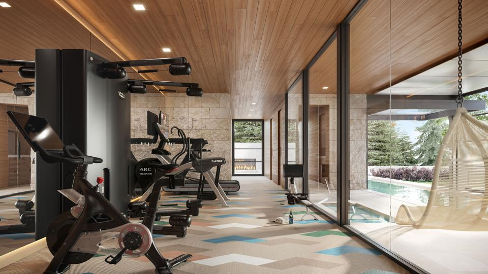 Home gym with exercise equipment