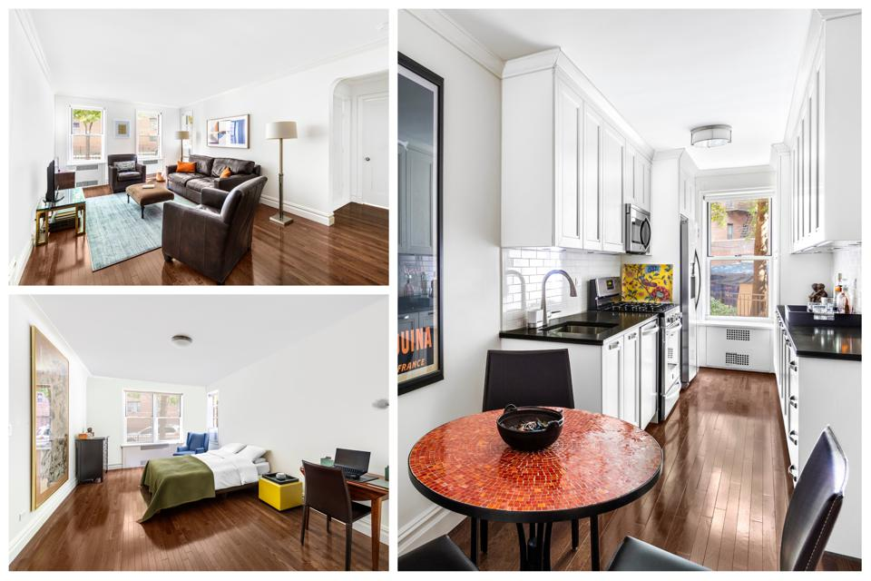 A collage of an apartment showing the living room, bedroom and kitchen.
