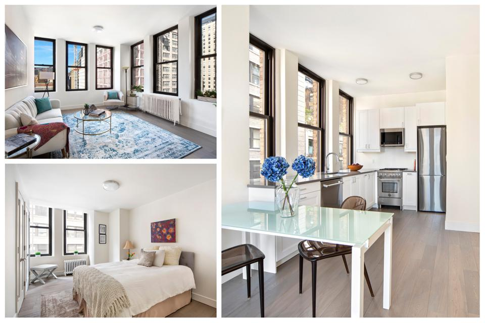A collage of an apartment showing a living room with a cityscape view, a bedroom and a kitchen.