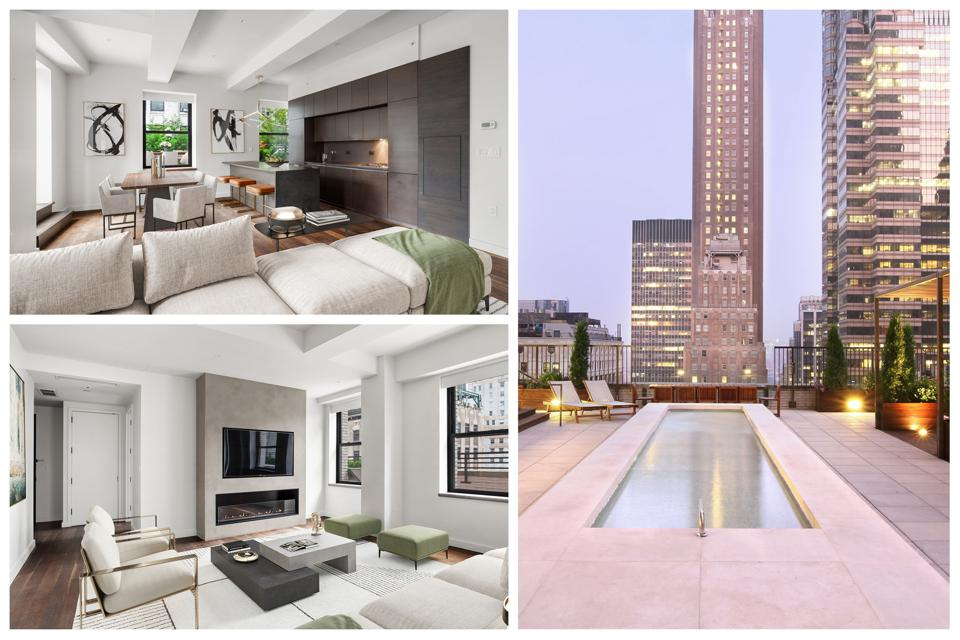 A collage of an apartment with an updated kitchen, contemporary living room and a rooftop common area.