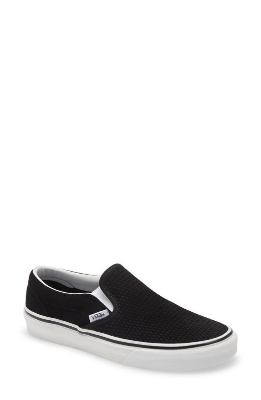 Vans solid black slip-on sneaker.